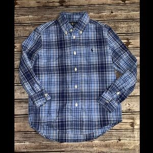 Boys 6 polo Ralph Lauren blue button up shirt